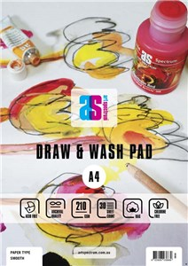 AS DRAW & WASH PAD SMOOTH A4 210g