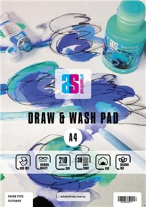 AS DRAW & WASH PAD TEXTURED A4 210g