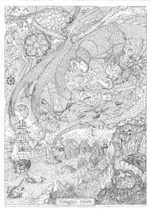 COOL ART DOODLE POSTER DRAGON COVE